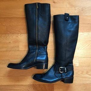Joan & David Black Leather Riding Boots.
